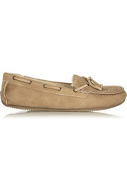 Shearling-lined intrecciato suede moccasins