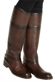 Gucci Horsebit-embellished burnished-leather boots