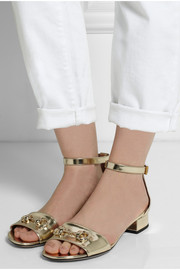 Metallic patent-leather horsebit-detailed sandals