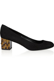 Bamboo-effect suede pumps