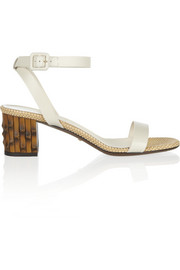 Bamboo-effect, leather and raffia sandals