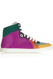 Paneled satin high-top sneakers