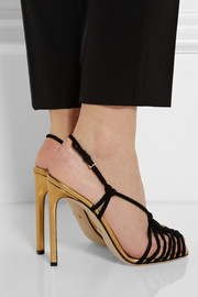 Metallic leather and suede sandals
