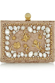 Dolce & Gabbana Ava crystal-embellished satin and lace box clutch