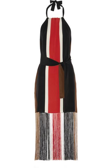 Fendi | Fringed striped silk-chiffon dress | NET-A-PORTER.COM