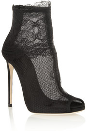 Lace-trimmed net ankle boots