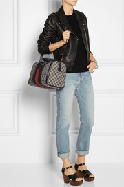 Gucci Vintage Web leather-trimmed monogrammed canvas tote