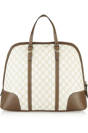 Nice leather-trimmed monogrammed coated-canvas tote