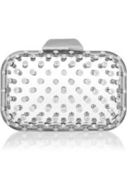 Ice Cube crystal-embellished Perspex clutch