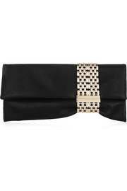 Jimmy Choo Chandra chain-embellished shimmer-suede clutch