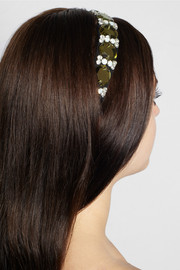 Marni Crystal and leather-embellished grosgrain headband