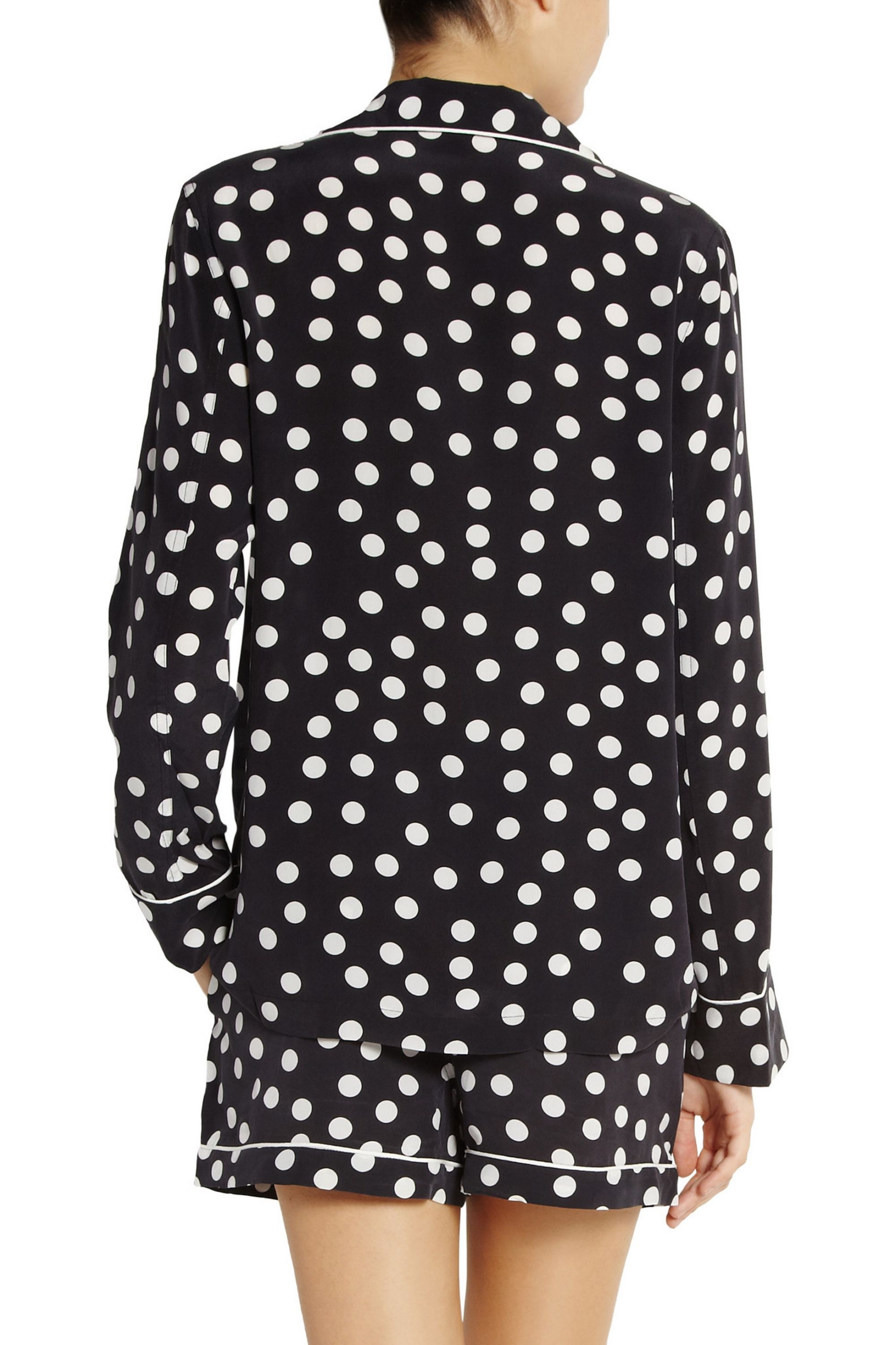 EQUIPMENT Lillian polka-dot washed-silk pajama set