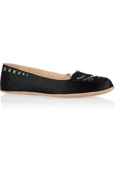 Charlotte Olympia. Cat Nap embroidered satin slippers