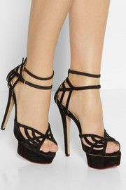 Charlotte Olympia Octavia suede and mesh platform sandals