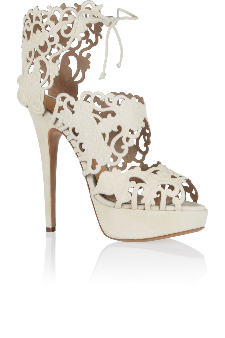 Charlotte Olympia Belinda Cutout Suede Sandals, Ivory, Women's US Size: 11.5, Size: 42