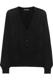 Dolce & Gabbana Lace-paneled wool cardigan