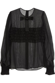 Dolce & Gabbana Lace-ruffled silk-blend blouse