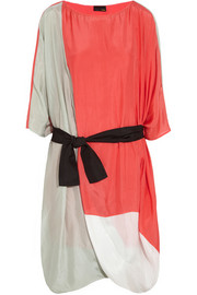 Oversized color-block silk dress