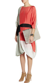 Fendi Oversized color-block silk dress
