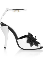 Flower-appliquéd patent-leather sandals