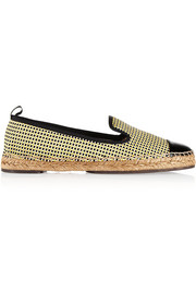 Fendi Woven cotton and patent-leather espadrilles