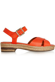 Lizard-effect and patent-leather sandals