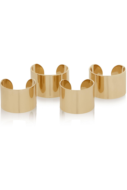 Maison Margiela Set de quatre bagues dorées