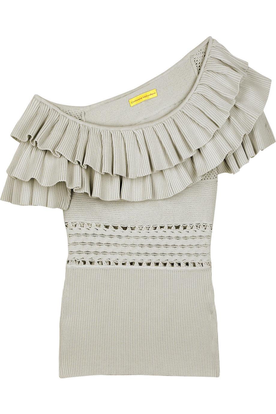 Catherine Malandrino Ruffle neck top|NET-A-PORTER.COM