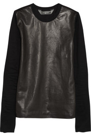 Reed Krakoff Leather-paneled cotton top