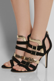 Jimmy ChooBronx suede and metallic leather sandals