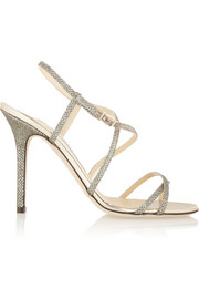 Jimmy Choo Issey textured-lamé sandals