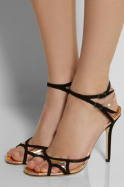 Jimmy ChooRocks suede and holographic leather sandals