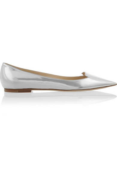Sale alerts for Jimmy Choo Attila mirrored-leather point-toe flats - Covvet