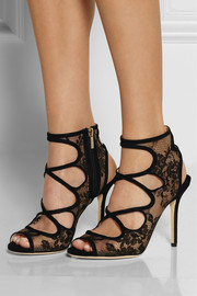 Jimmy ChooJalislo cutout suede and lace sandals