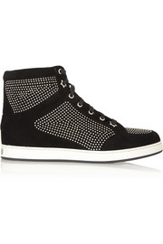Tokyo studded suede high-top sneakers