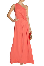 Halston HeritageOne-shoulder georgette gown