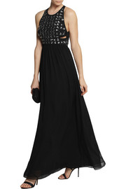 Diane von FurstenbergCrystal-embellished silk-chiffon gown