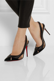 Christian Louboutin Air Chance 100 leather and suede slingback pumps