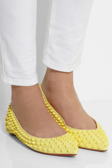 christian louboutin pigalle spiked leather point-toe flats