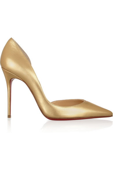 christian louboutin iriza gold pumps