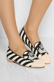 Christian Louboutin Intern studded striped canvas slippers