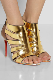 Christian Louboutin Beautyk 100 cutout metallic patent-leather sandals