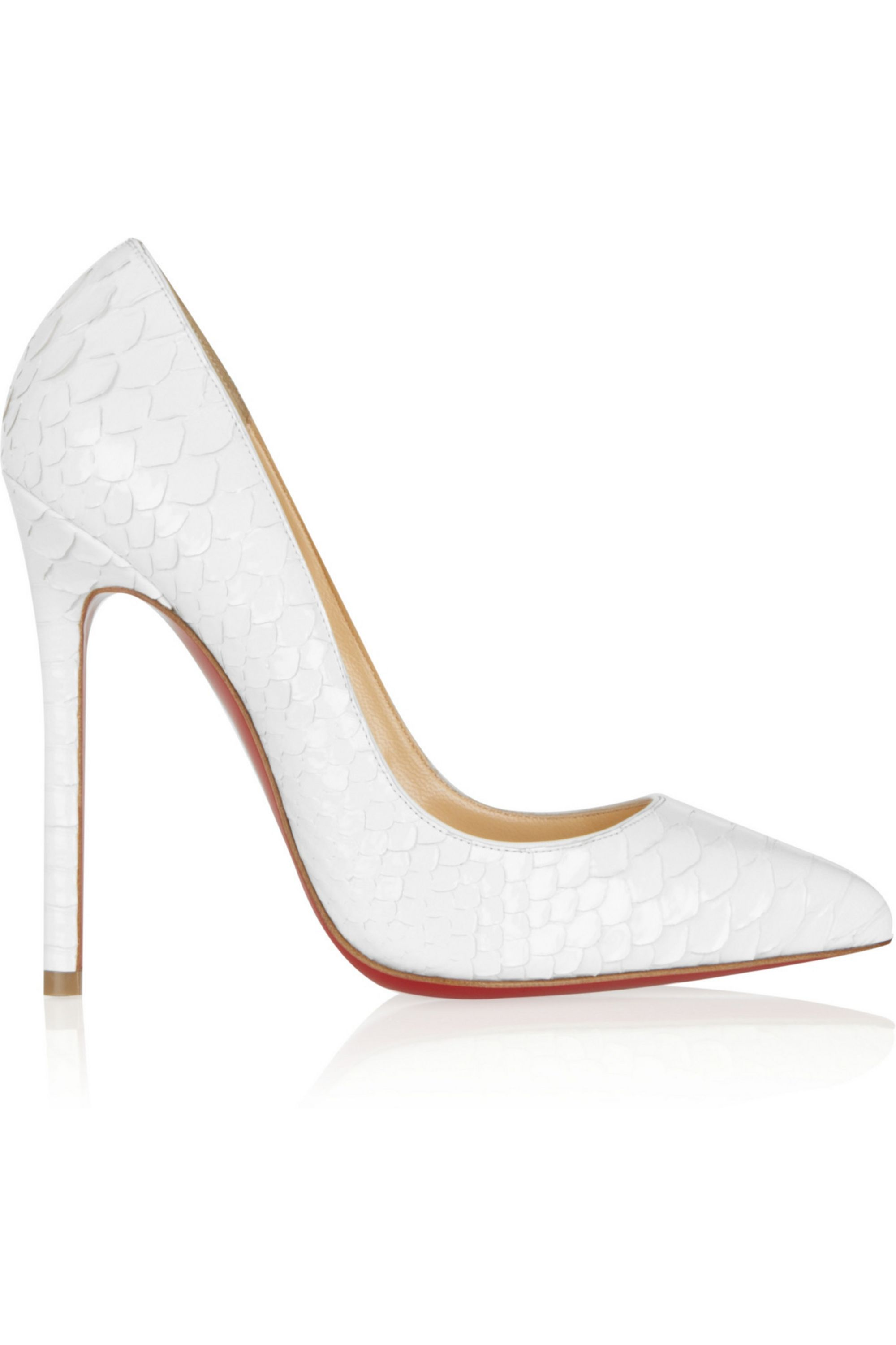 Christian Louboutin Pigalle 120 glossed python pumps