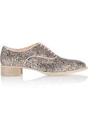 Christian Louboutin Zazou glitter-finished canvas brogues
