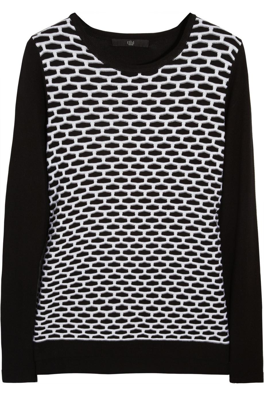 TIBI Intarsia cotton and modal-blend sweater