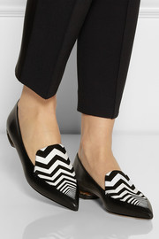 Nicholas Kirkwood Zigzag-print suede and leather point-toe flats
