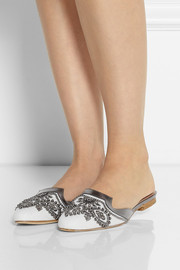Oscar de la Renta Spanish Mule embellished linen and leather slippers