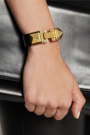 Saint Laurent Gold-plated and leather bracelet