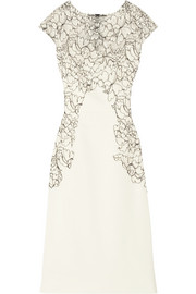 Chantilly lace-appliquéd stretch-crepe dress