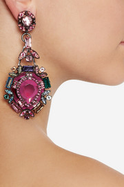 LanvinSanta Barbara silver-tone crystal clip earrings
